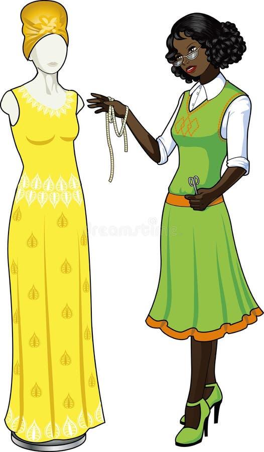 非裔美国人的女性专业服装desig 向量例证