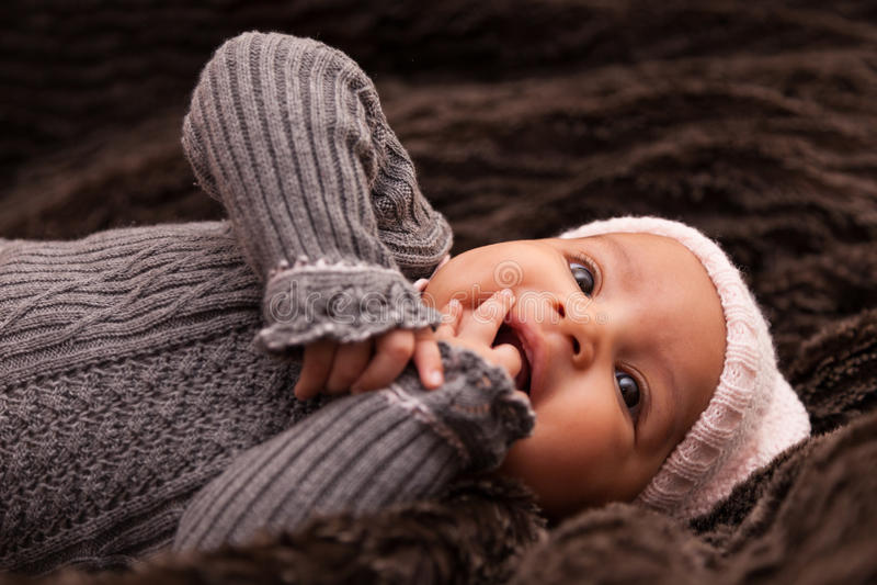 非裔美国人的女婴-黑人 库存照片