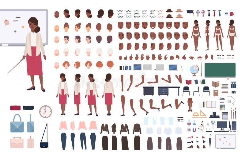 非裔美国人的妇女学校教师或教教授DIY或建设者成套工具 捆绑女性角色身体 皇族释放例证