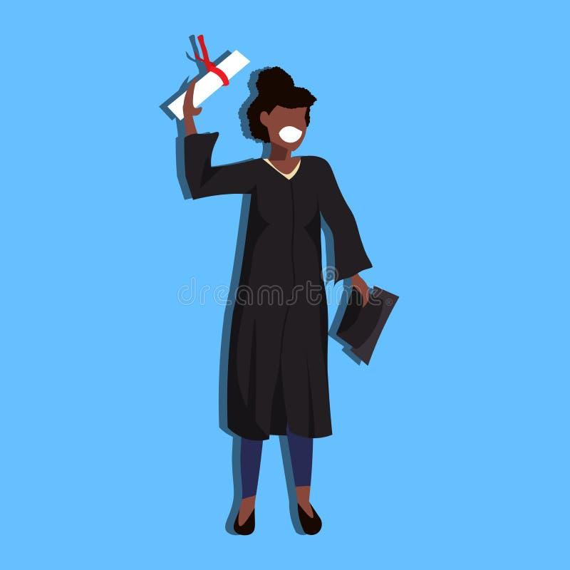 非裔美国人的妇女毕业了拿着盖帽文凭学生教育概念愉快的夫人女性漫画人物的褂子 库存例证