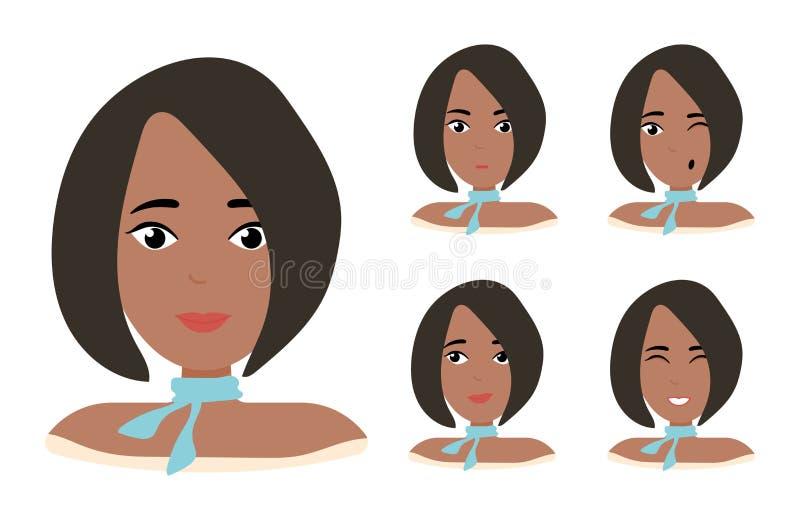 非裔美国人的妇女面孔表示有黑发的 另外女性情感集合 有吸引力的卡通人物 向量例证