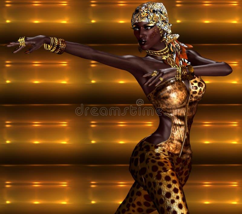 非裔美国人的妇女以豹子与美丽的化妆用品的印刷品时尚 向量例证