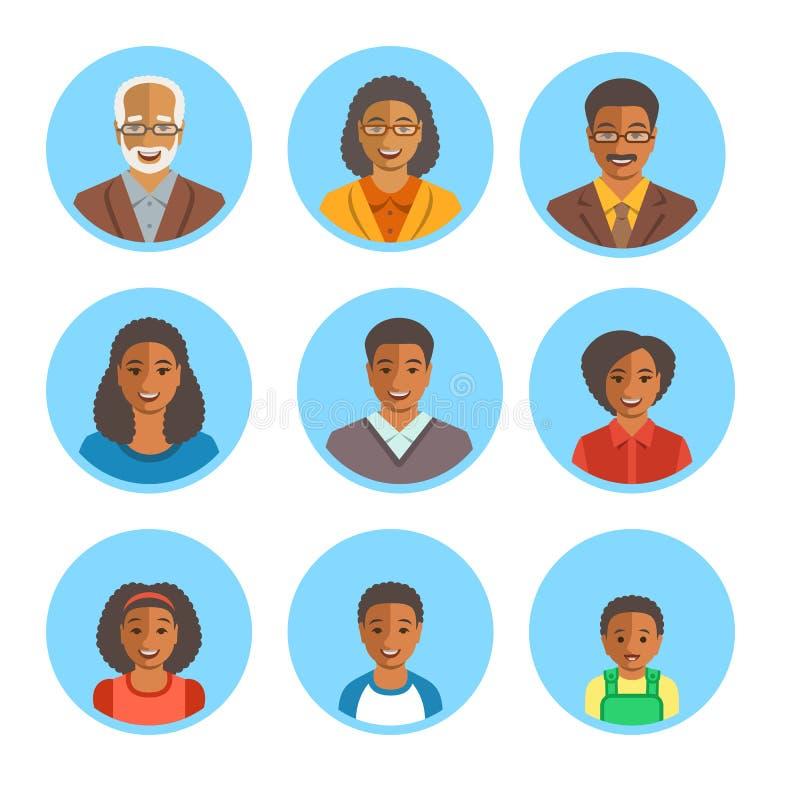 非裔美国人的家庭愉快的面孔平的具体化 皇族释放例证