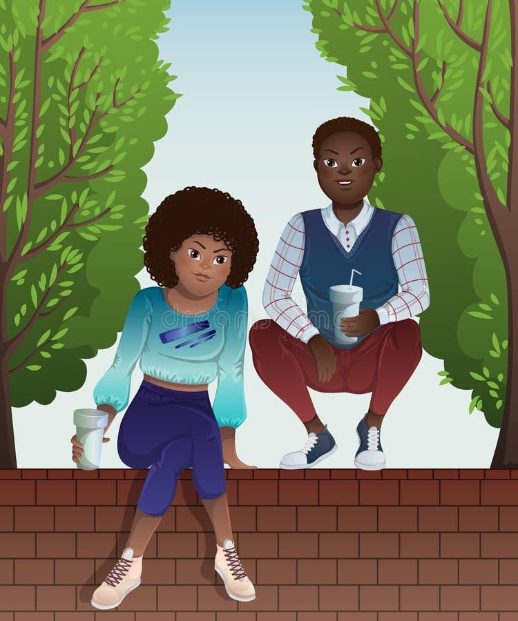 非裔美国人的少年夫妇坐篱芭和绿色树砖墙  皇族释放例证
