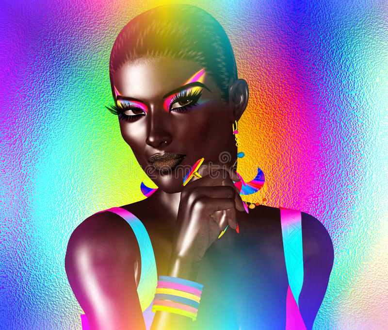 非裔美国人的时尚秀丽 一名美丽的妇女的一个惊人的五颜六色的图象有配比的构成、辅助部件和衣物aga的 皇族释放例证