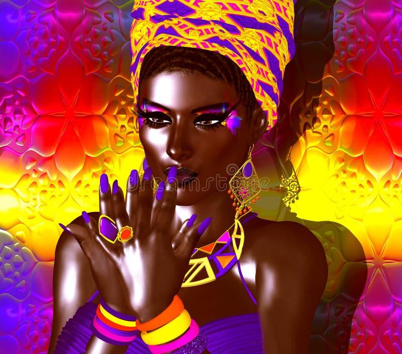 非裔美国人的时尚秀丽 一名美丽的妇女的一个惊人的五颜六色的图象有配比的构成、辅助部件和衣物aga的 库存例证