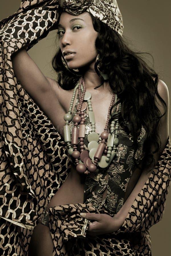 非裔美国人的时装模特儿。 免版税库存照片