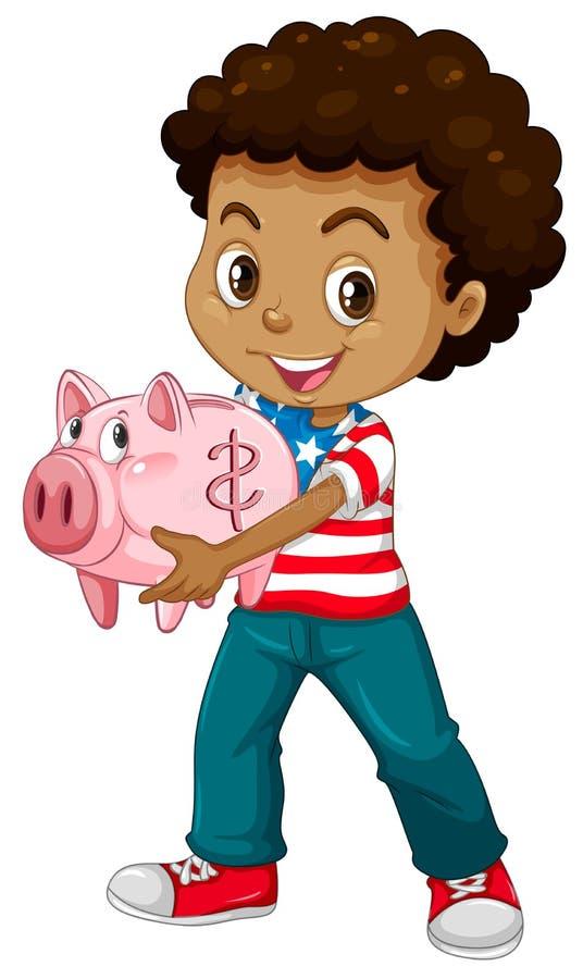非裔美国人的男孩和存钱罐 皇族释放例证