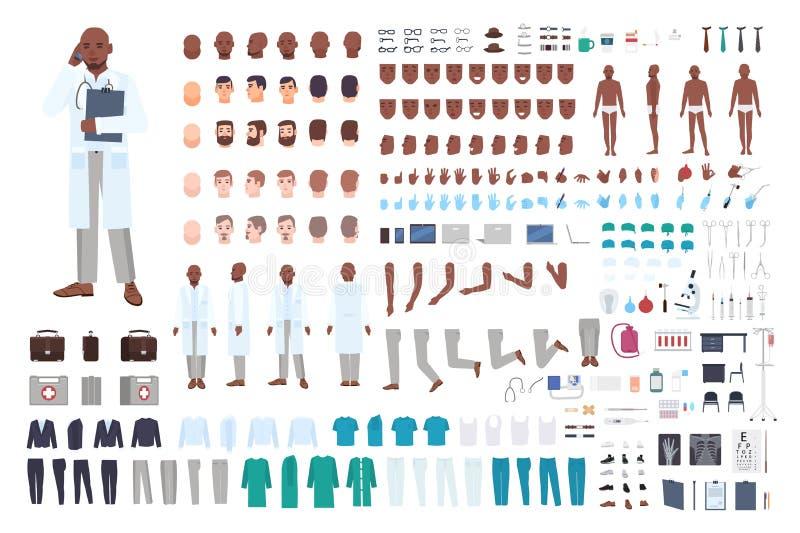非裔美国人的男性医生或医师建设者集合或DIY成套工具 捆绑身体局部用不同的姿势,制服 向量例证