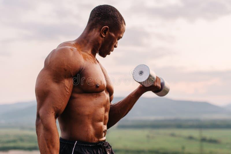 非裔美国人的肌肉反对日落天空背景的运动员举的哑铃 免版税库存照片