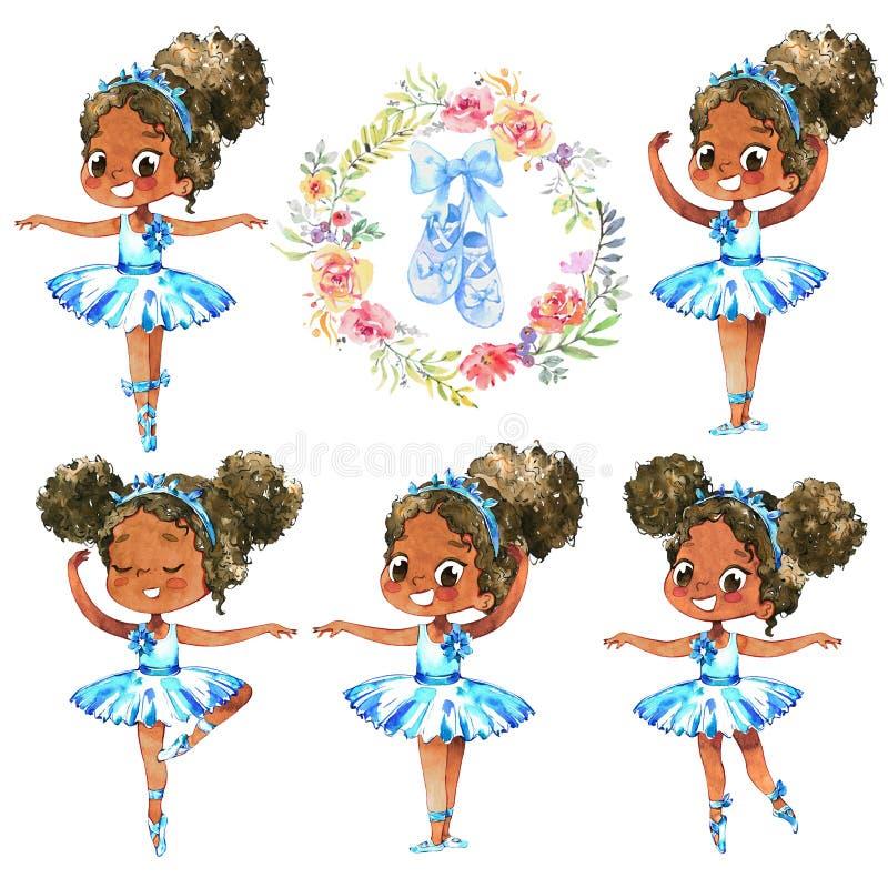 非裔美国人的芭蕾舞女演员Character Dancer Set公主的 逗人喜爱的儿童女孩在学校佩带蓝色芭蕾舞短裙服装训练 皇族释放例证