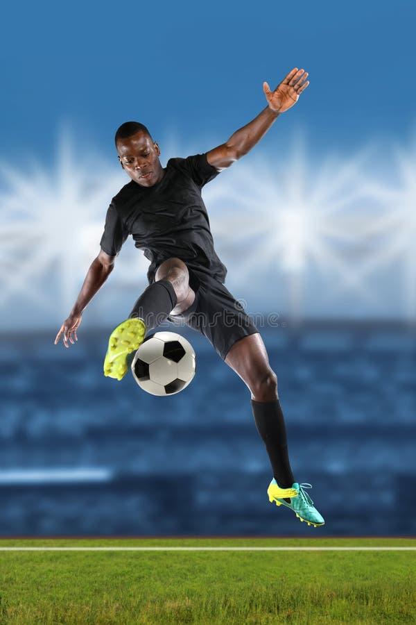 非裔美国人的足球运动员 免版税库存图片