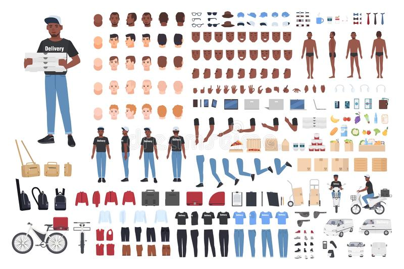 非裔美国人的送报员建设者 男性角色身体局部的汇集用不同的姿势,制服 向量例证