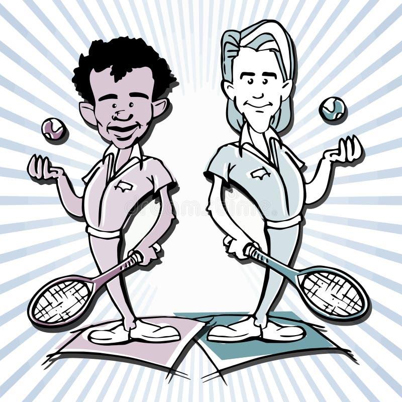 非洲人、拉丁美洲人或者印地安人 网球员夫妇动画片 向量例证
