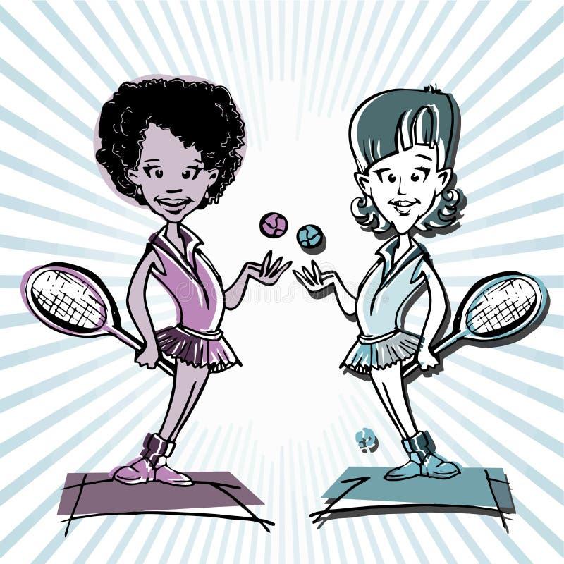 非洲人、拉丁美洲人或者印地安人 网球员夫妇动画片 皇族释放例证