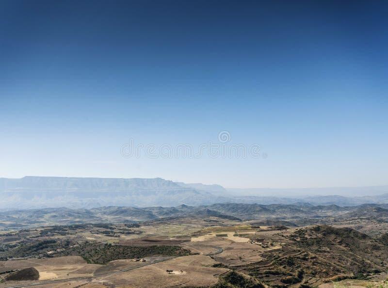 非洲农村北埃塞俄比亚山和乡下lansdca 免版税库存照片