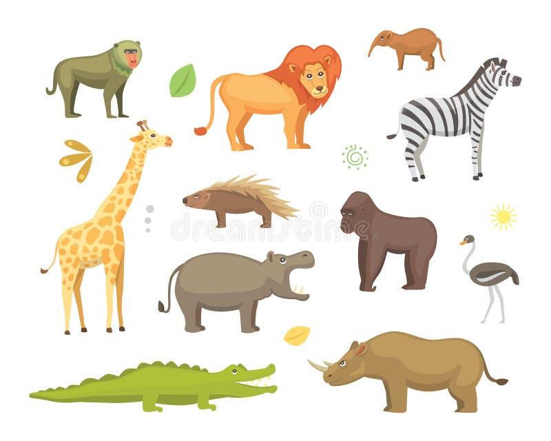 非洲动物动画片传染媒介集合 大象,犀牛,长颈鹿,猎豹,斑马,鬣狗,狮子,河马,鳄鱼, gorila和 皇族释放例证
