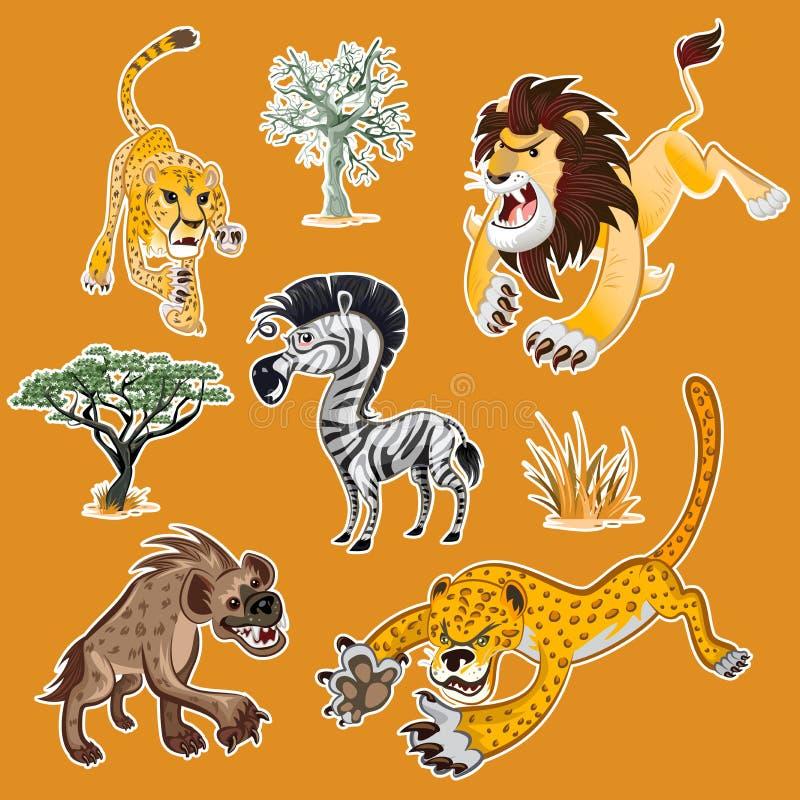 非洲动物&树汇集设置了01 向量例证