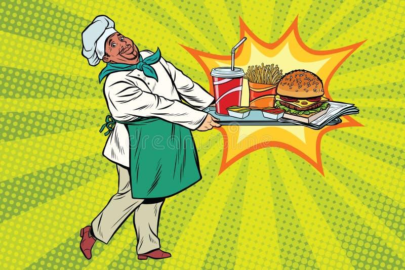 非洲厨师带来快餐盘子  向量例证