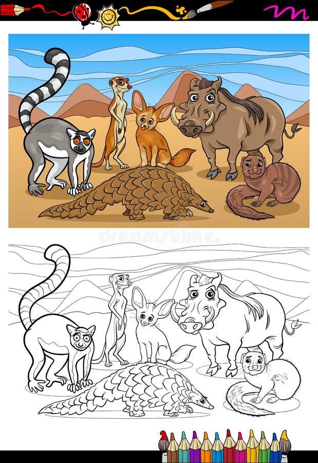 非洲哺乳动物动画片彩图 库存例证