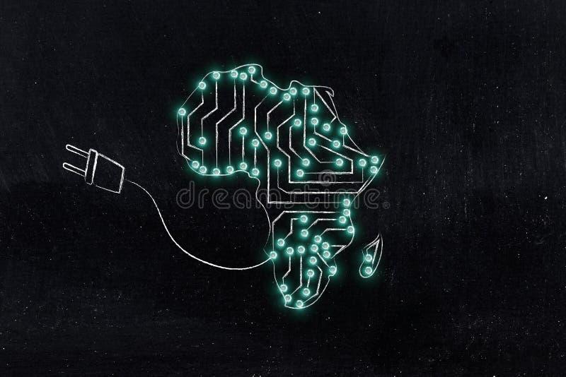 非洲地图由电子微集成电路电路&插座制成 免版税库存图片
