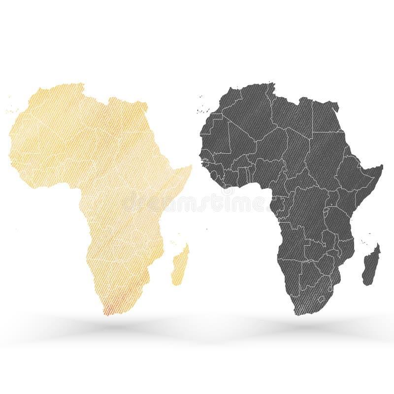 非洲地图,木设计纹理,传染媒介 库存例证