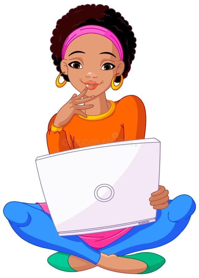 非洲坐垫膝上型计算机坐的妇女年轻&# 皇族释放例证