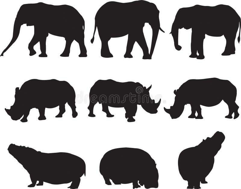 非洲大象、白犀牛和河马现出轮廓等高 库存照片