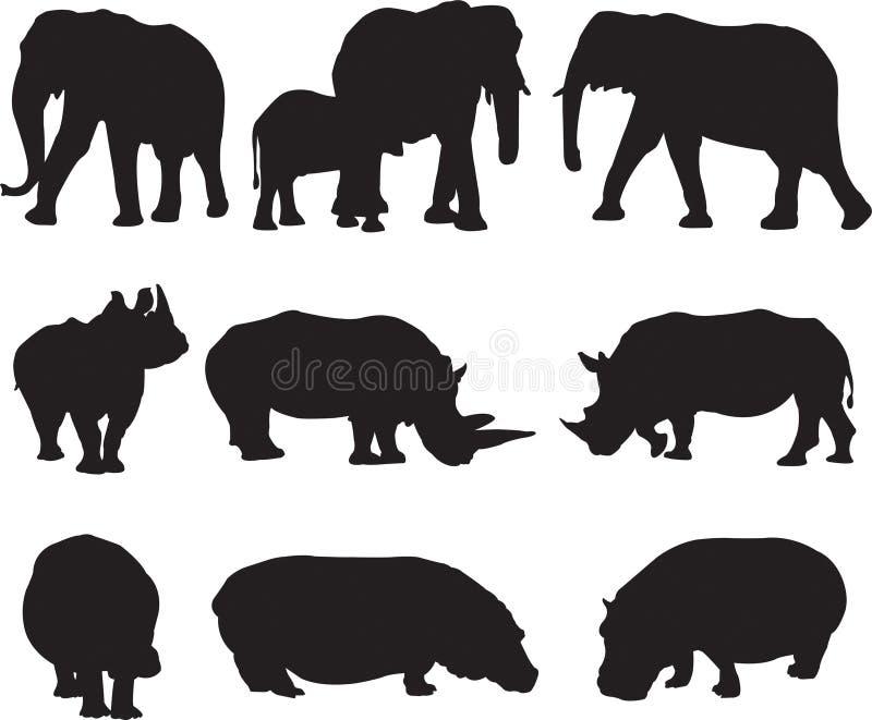 非洲大象、白犀牛和河马现出轮廓等高 免版税库存图片