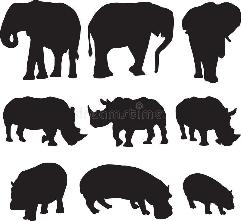 非洲大象、白犀牛和河马现出轮廓等高 免版税图库摄影