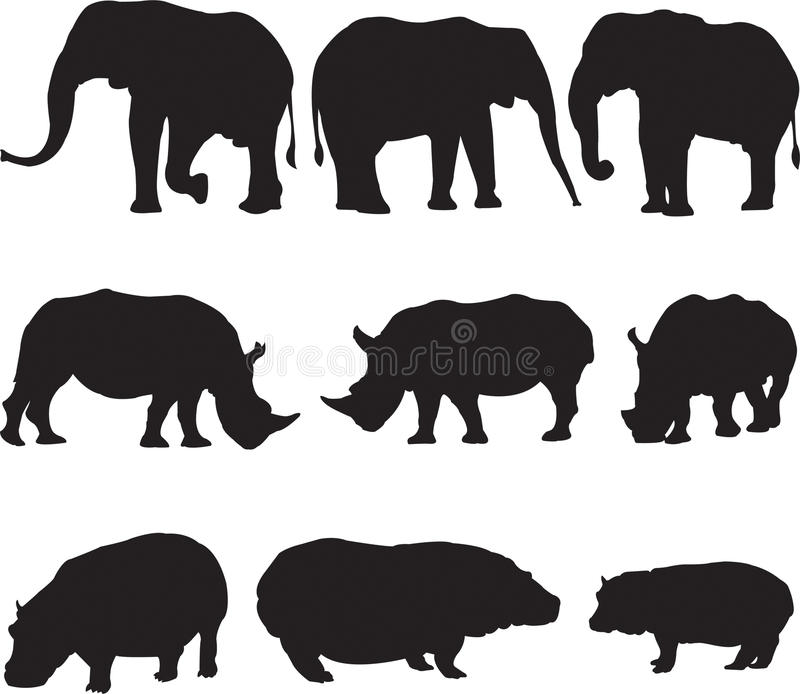 非洲大象、白犀牛和河马现出轮廓等高 图库摄影