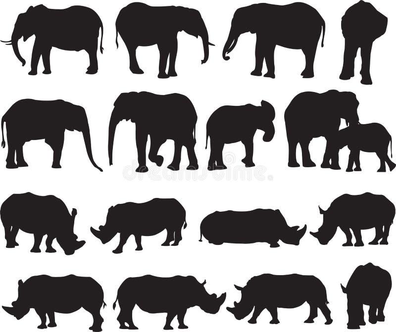 非洲大象和白犀牛剪影等高 免版税库存照片