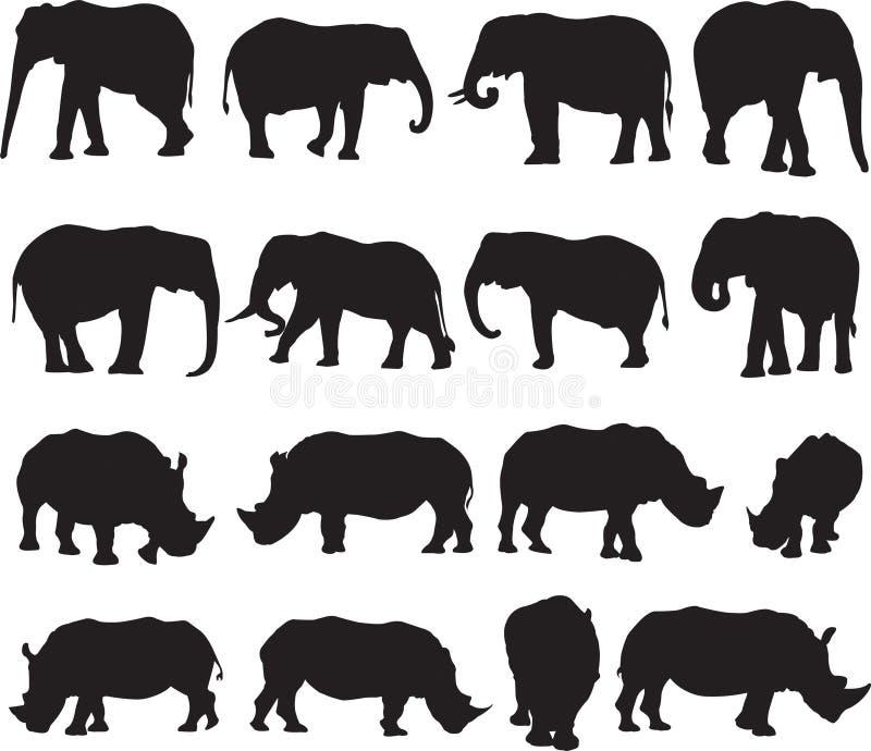 非洲大象和白犀牛剪影等高 免版税图库摄影
