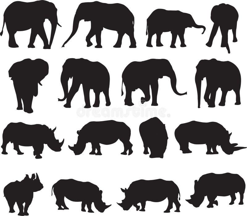 非洲大象和白犀牛剪影等高 库存照片