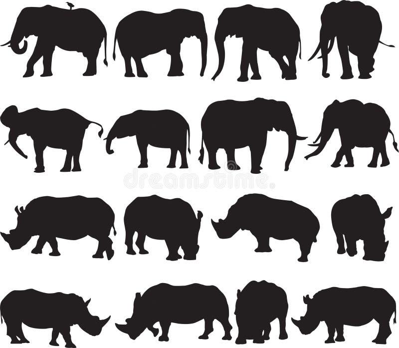非洲大象和白犀牛剪影等高 库存图片