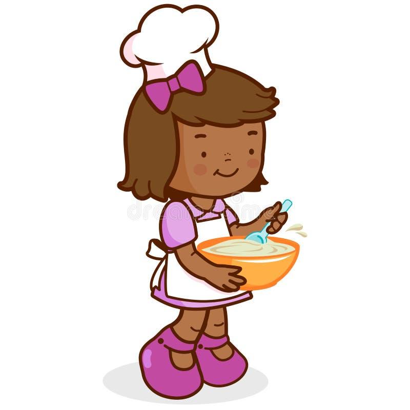 非洲女孩厨师烹调 向量例证