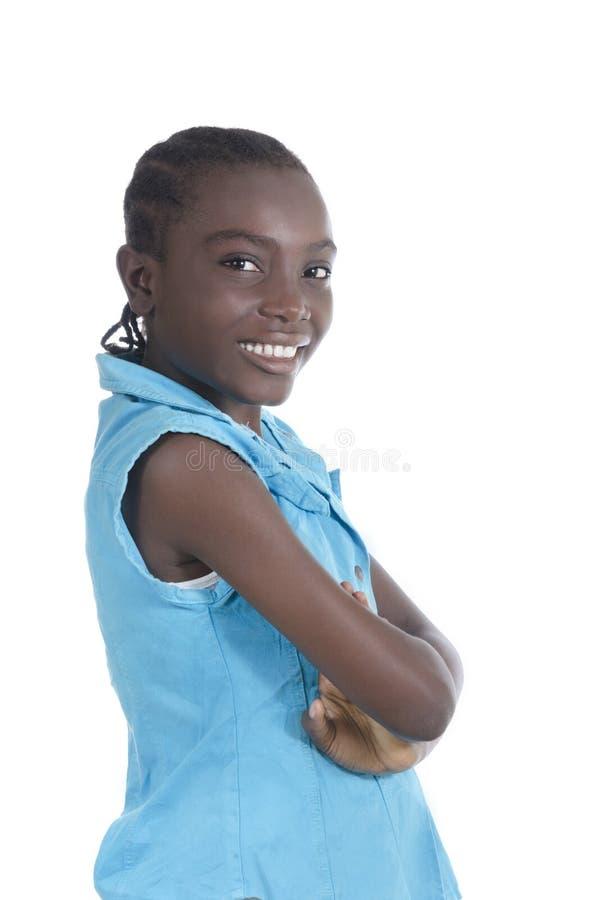 非洲女孩微笑 免版税图库摄影