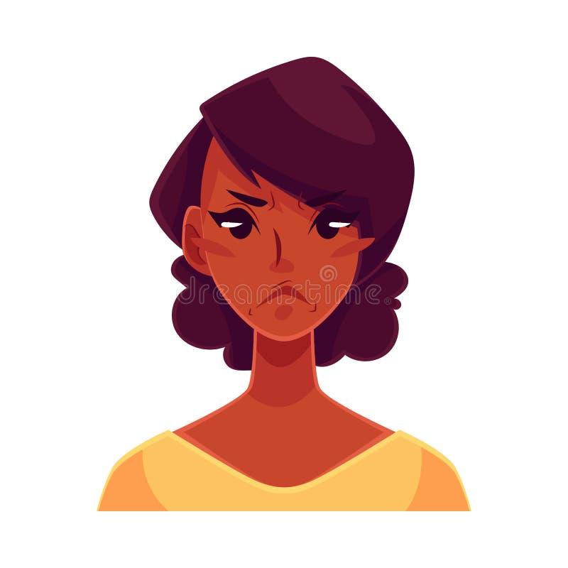 非洲女孩面孔,恼怒的表情 库存例证