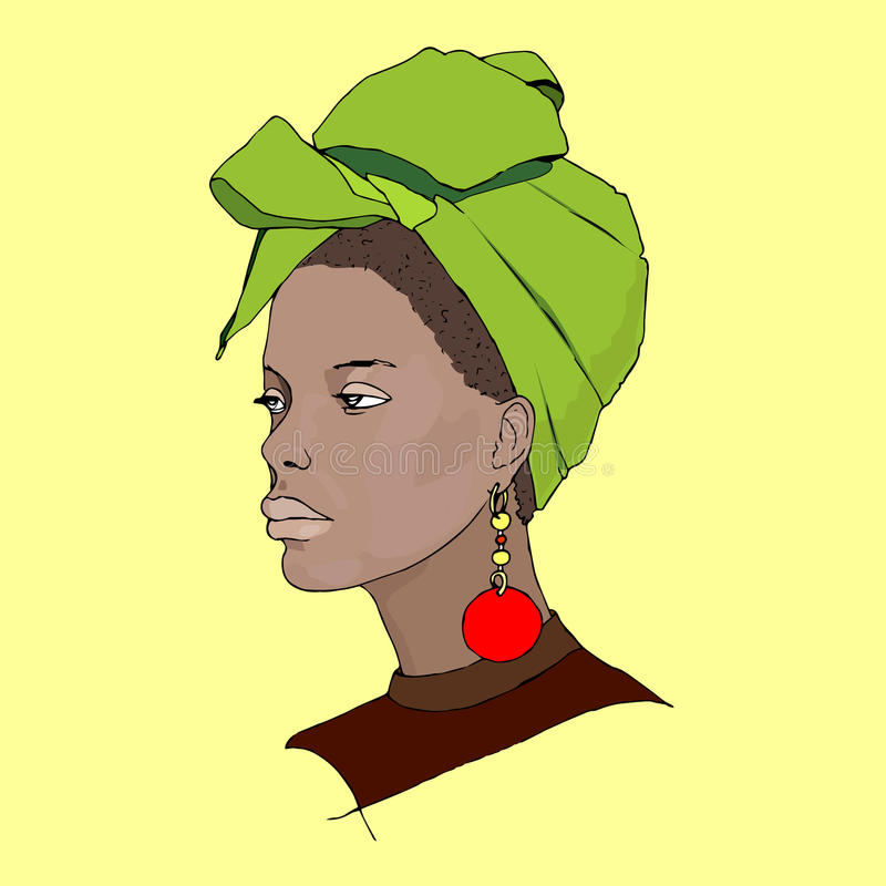 非洲妇女佩带的头巾 向量例证
