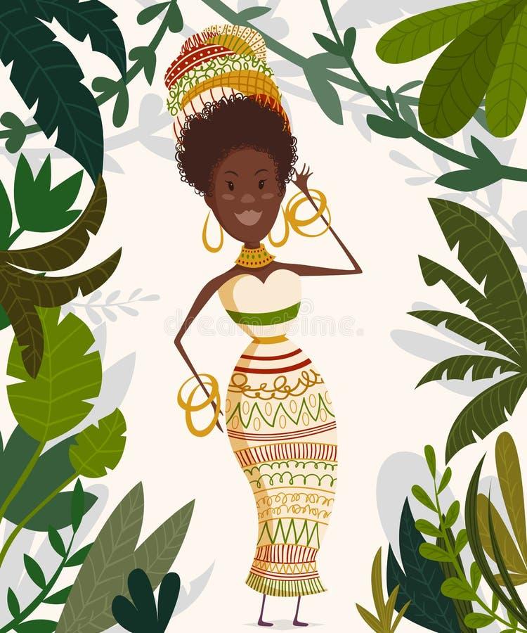 非洲妇女在有棕榈树和叶子的热带密林 滑稽的漫画人物 向量例证