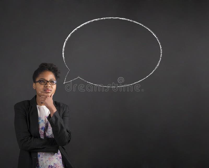 非洲妇女用在下巴想法的想法泡影的手在黑板背景 免版税库存图片