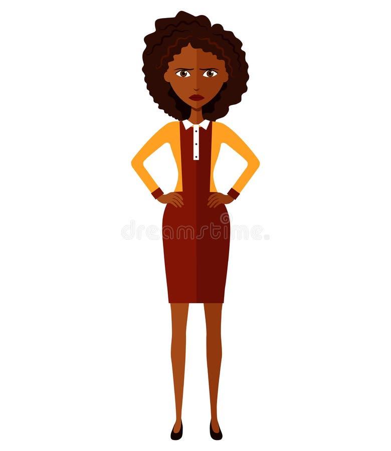 非洲妇女 担心的企业女孩 生气银行家女孩 紧张的经理妇女 皱眉的少妇 混淆的妇女 情感古芝 库存例证