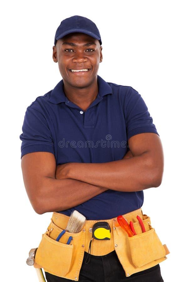年轻非洲安装工 库存照片