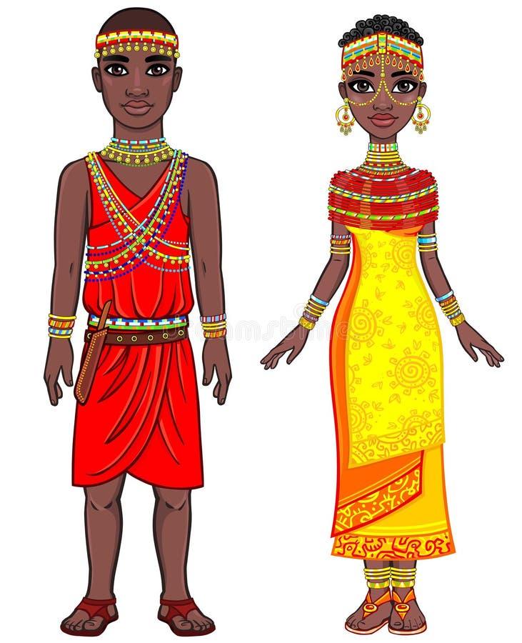 非洲家庭的动画画象在种族衣裳的