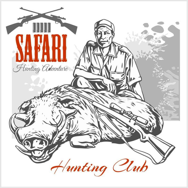 非洲徒步旅行队例证和标签狩猎俱乐部的 皇族释放例证