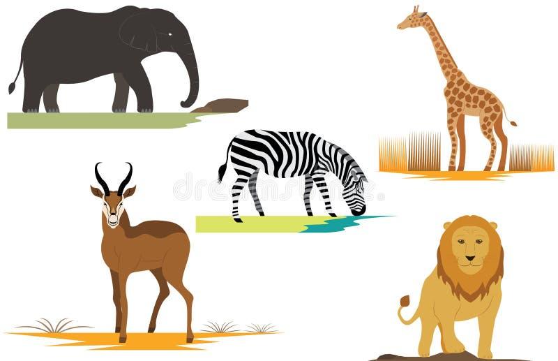 非洲徒步旅行队动物狮子大象长颈鹿Gazell 皇族释放例证