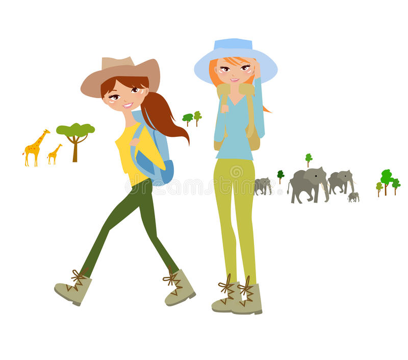 非洲徒步旅行队的妇女旅客 皇族释放例证