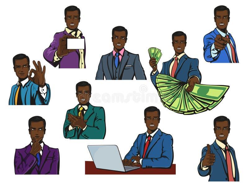 非洲或非洲、黑成功的商人与假笑或微笑在动画片或流行音乐漫画葡萄酒样式以品种 皇族释放例证