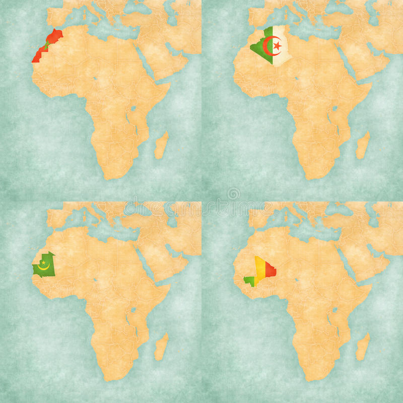 非洲-摩洛哥、阿尔及利亚、毛里塔尼亚和马里的地图 库存例证