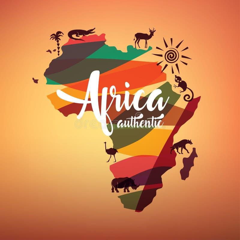 非洲旅行地图,非洲的装饰标志 库存例证
